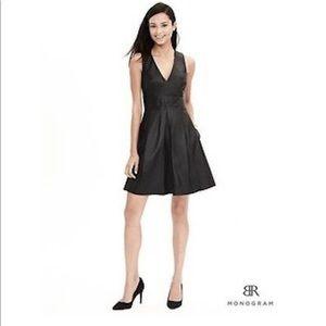 Banana Republic Black Monogram leather dress.